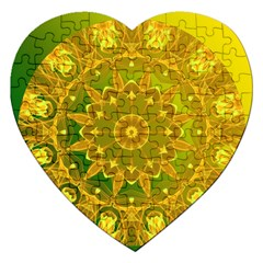Yellow Green Abstract Wheel Of Fire Jigsaw Puzzle (heart) by DianeClancy