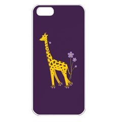 Purple Cute Cartoon Giraffe Apple Iphone 5 Seamless Case (white)