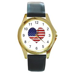 Grunge Heart Shape G8 Flags Round Leather Watch (gold Rim)