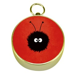 Red Cute Dazzled Bug Gold Compass by CreaturesStore