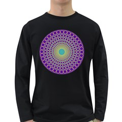 Radial Mandala Men s Long Sleeve T Shirt (dark Colored)