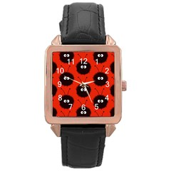 Red Cute Dazzled Bug Pattern Rose Gold Leather Watch