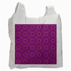 Purple Moroccan Pattern White Reusable Bag (one Side) by SaraThePixelPixie