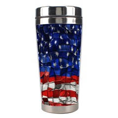 American Flag Blocks Stainless Steel Travel Tumbler by bloomingvinedesign