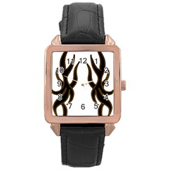 Dancing Fire Rose Gold Leather Watch