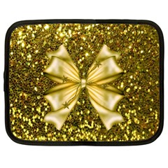 Golden Sequins And Bow Netbook Sleeve (xl) by ElenaIndolfiStyle