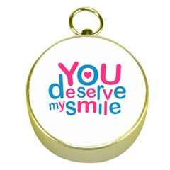 You Deserve My Smile Typographic Design Love Quote Gold Compass by dflcprints