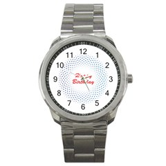Halftone Circle With Squares Sport Metal Watch