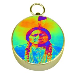 Sitting Bull Gold Compass by icarusismartdesigns