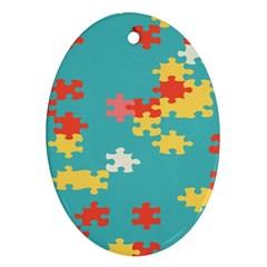 Puzzle Pieces Oval Ornament
