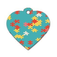 Puzzle Pieces Dog Tag Heart (two Sided)