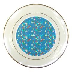 Colorful Squares Pattern Porcelain Plate