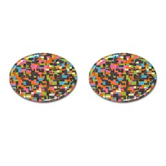 Colorful Pixels Cufflinks (oval)