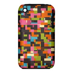 Colorful Pixels Apple Iphone 3g/3gs Hardshell Case (pc+silicone)