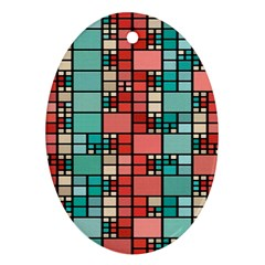 Red And Green Squares Ornament (oval)