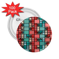 Red And Green Squares 2 25  Button (100 Pack)