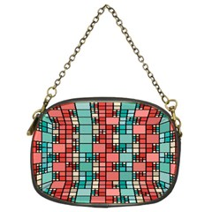 Red And Green Squares Chain Purse (two Sides)