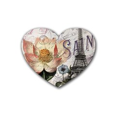 Vintage Paris Eiffel Tower Floral Drink Coasters (heart) by chicelegantboutique