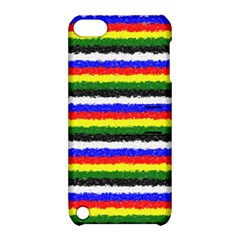 Horizontal Basic Colors Curly Stripes Apple Ipod Touch 5 Hardshell Case With Stand