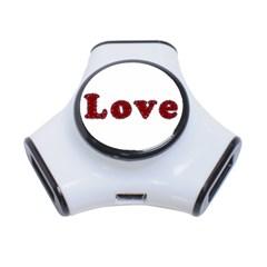 Love Typography Text Word 3 Port Usb Hub