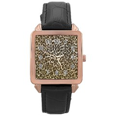 Chocolate Leopard  Rose Gold Leather Watch