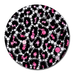 Pink Cheetah Bling 8  Mouse Pad (round) by OCDesignss