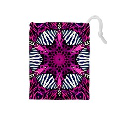 Crazy Hot Pink Zebra  Drawstring Pouch (medium) by OCDesignss
