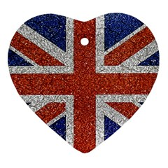 England Flag Grunge Style Print Heart Ornament (two Sides) by dflcprints