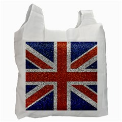England Flag Grunge Style Print White Reusable Bag (one Side) by dflcprints