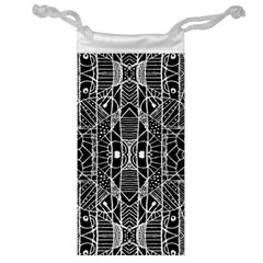 Black And White Tribal Geometric Pattern Print Jewelry Bag by dflcprints
