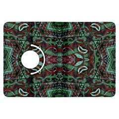 Tribal Ornament Pattern In Red And Green Colors Kindle Fire Hdx Flip 360 Case by dflcprints