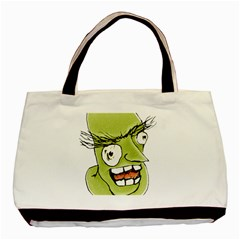 Mad Monster Man With Evil Expression Twin Sided Black Tote Bag by dflcprints