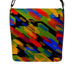 Colorful Shapes On A Black Background Flap Closure Messenger Bag (large) by LalyLauraFLM