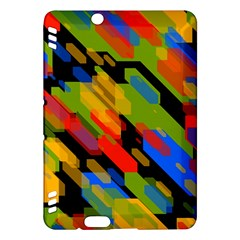 Colorful Shapes On A Black Background Kindle Fire Hdx Hardshell Case by LalyLauraFLM