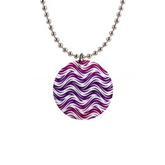 Purple Waves Pattern 1  Button Necklace