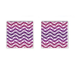 Purple Waves Pattern Cufflinks (square) by LalyLauraFLM