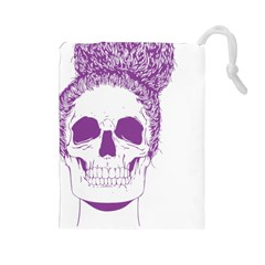Purple Skull Bun Up Drawstring Pouch (large) by vividaudacity