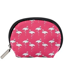 Flamingo White On Pink Pattern Accessory Pouch (small) by CrypticFragmentsColors
