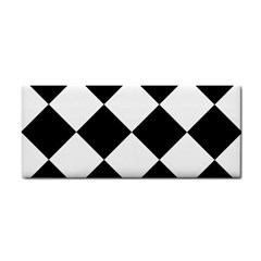 Harlequin Diamond Mosaic Tile Pattern Black White Hand Towel
