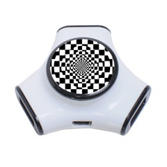 Checkered Flag Race Winner Mosaic Tile Pattern Repeat 3 Port Usb Hub by CrypticFragmentsColors