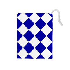 Harlequin Diamond Pattern Cobalt Blue White Drawstring Pouch (medium) by CrypticFragmentsColors