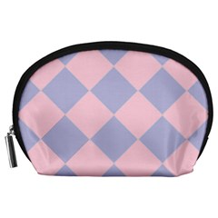 Harlequin Diamond Argyle Pastel Pink Blue Accessory Pouch (large) by CrypticFragmentsColors