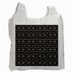 Tribal Dark Geometric Pattern03 White Reusable Bag (one Side) by dflcprints