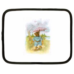 Vintage Drawing: Teddy Bear In The Rain Netbook Sleeve (xl) by MotherGoose