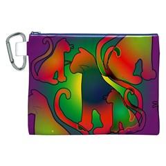 Rainbow Purple Cats Canvas Cosmetic Bag (xxl)