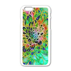 Abstract Peacock Chrysanthemum Apple Iphone 6 White Enamel Case by bloomingvinedesign