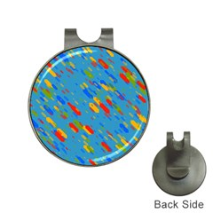 Colorful Shapes On A Blue Background Golf Ball Marker Hat Clip by LalyLauraFLM