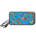 Colorful shapes on a blue background Portable Speaker (Black) Front