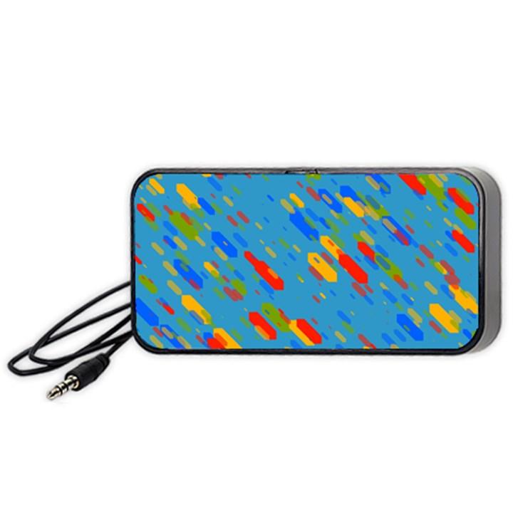 Colorful shapes on a blue background Portable Speaker (Black)