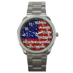 American Flag Mosaic Sport Metal Watch